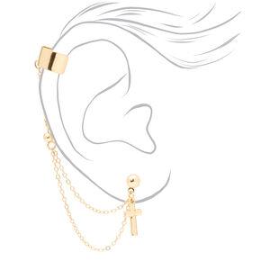 Boucles d'oreilles reliées par une chaîne à une manchette d'oreille croix couleur dorée,