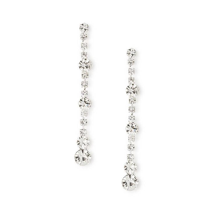 Silver Glass Rhinestone Linear Drop Earrings,
