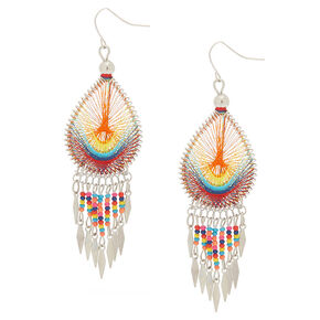 "Silver 3"" Rainbow Threaded Drop Earrings,"
