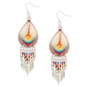 "Silver 3"" Rainbow Threaded Drop Earrings,"