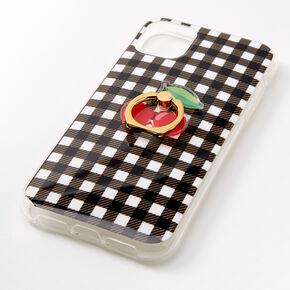 Coque de protection pour portable avec support anneau à motif cerises et vichy - Compatible avec iPhone11,