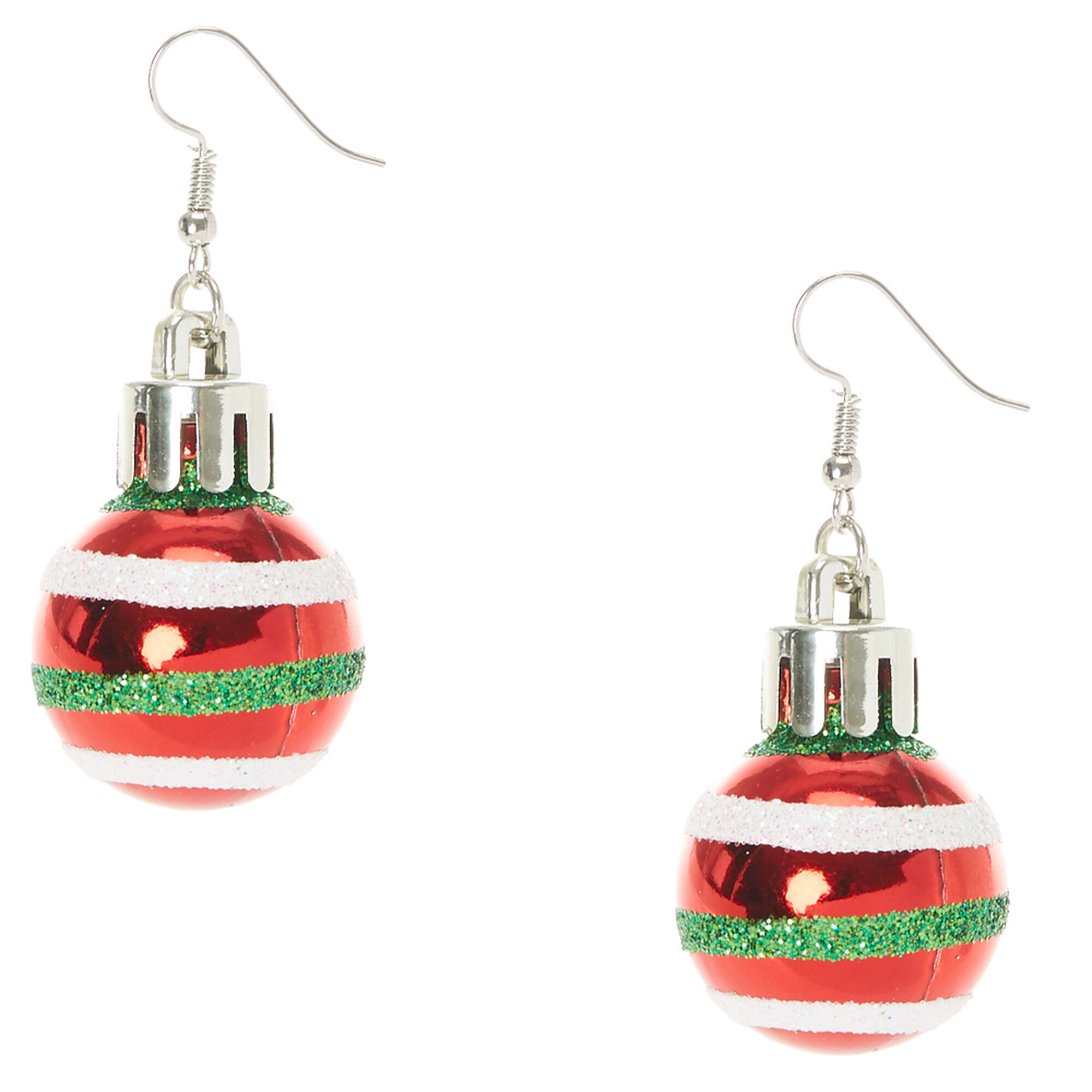 Red Striped Christmas Bauble Drop Earrings