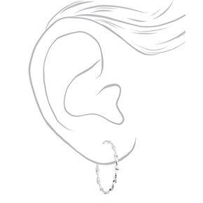 Silver 40MM Twisted Hoop Earrings,