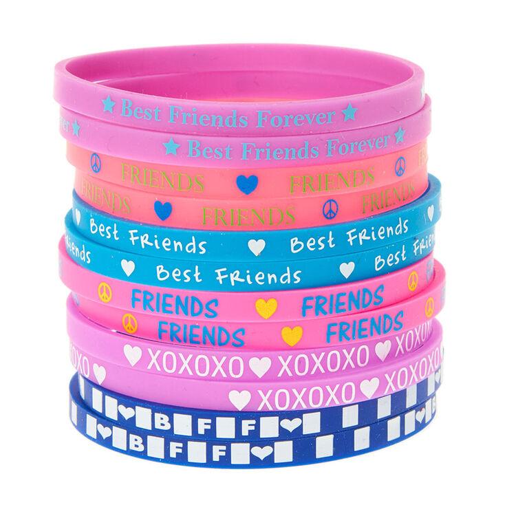 f2b2ec65c4a10 Best Friends Pink, Purple and Blue Thin Silicone Bracelets