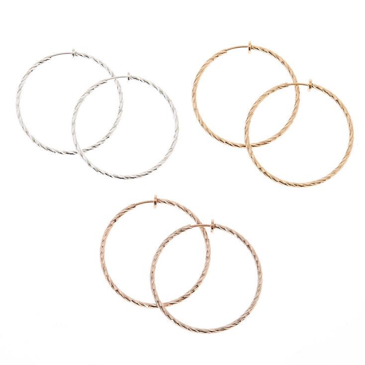 Mixed Metal Clip On Hoop Earring Set