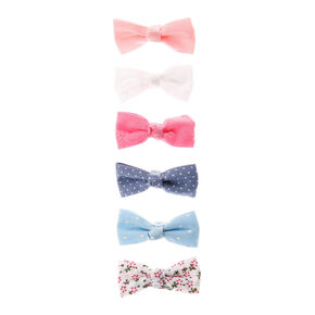 Claire's Club Pastel Hair Bow Clips - 6 Pack,