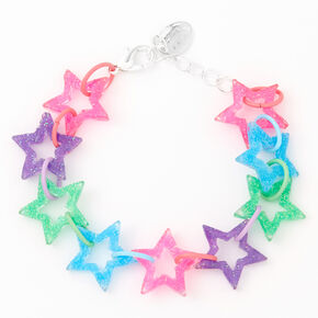 Rainbow Glitter Star Chain Bracelet,