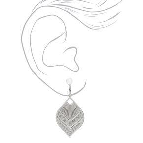 """Silver 1.5"""" Filigree Teardrop Clip On Drop Earrings,"""