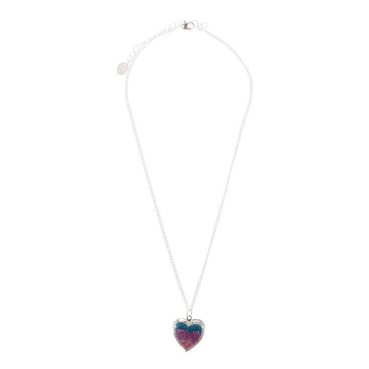 Glitter Heart Locket Pendant Necklace,
