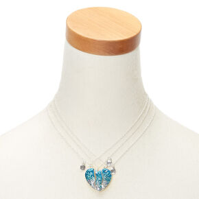 Best Friends Glitter Heart Pendant Necklaces - Blue, 3 Pack,
