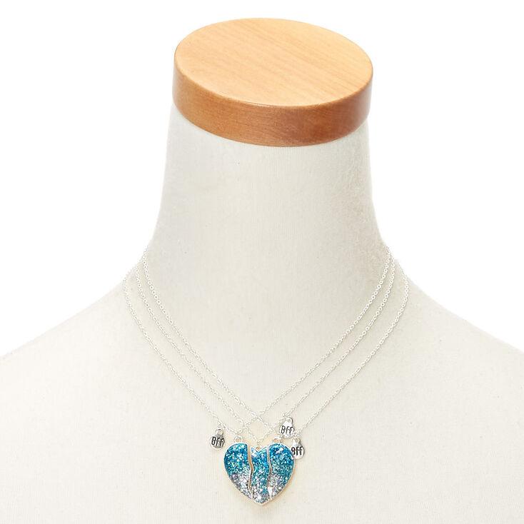 Best Friends Glitter Heart Pendant Necklaces - Blue, 3 Pack,