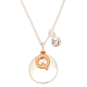 Mixed Metal Initial Charm Pendant Necklace - Q,