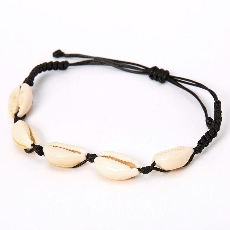 Cowrie Shell Adjustable Bracelet - Black,