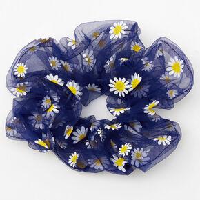 Giant Sheer Mesh Daisy Hair Scrunchie - Navy,