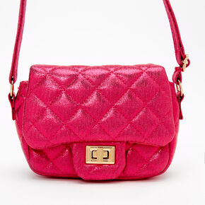 Claire's Club Quilted Mini Crossbody Bag - Fuchsia,
