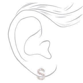 Silver Crystal Initial Stud Earrings - S,