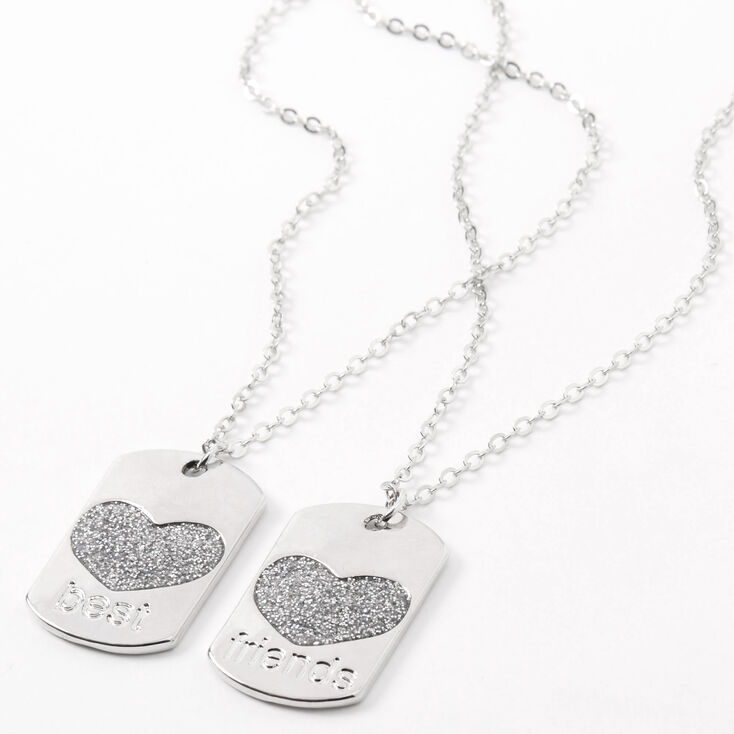 Best Friends Heart Dog Tag Pendant Necklaces - 2 Pack,