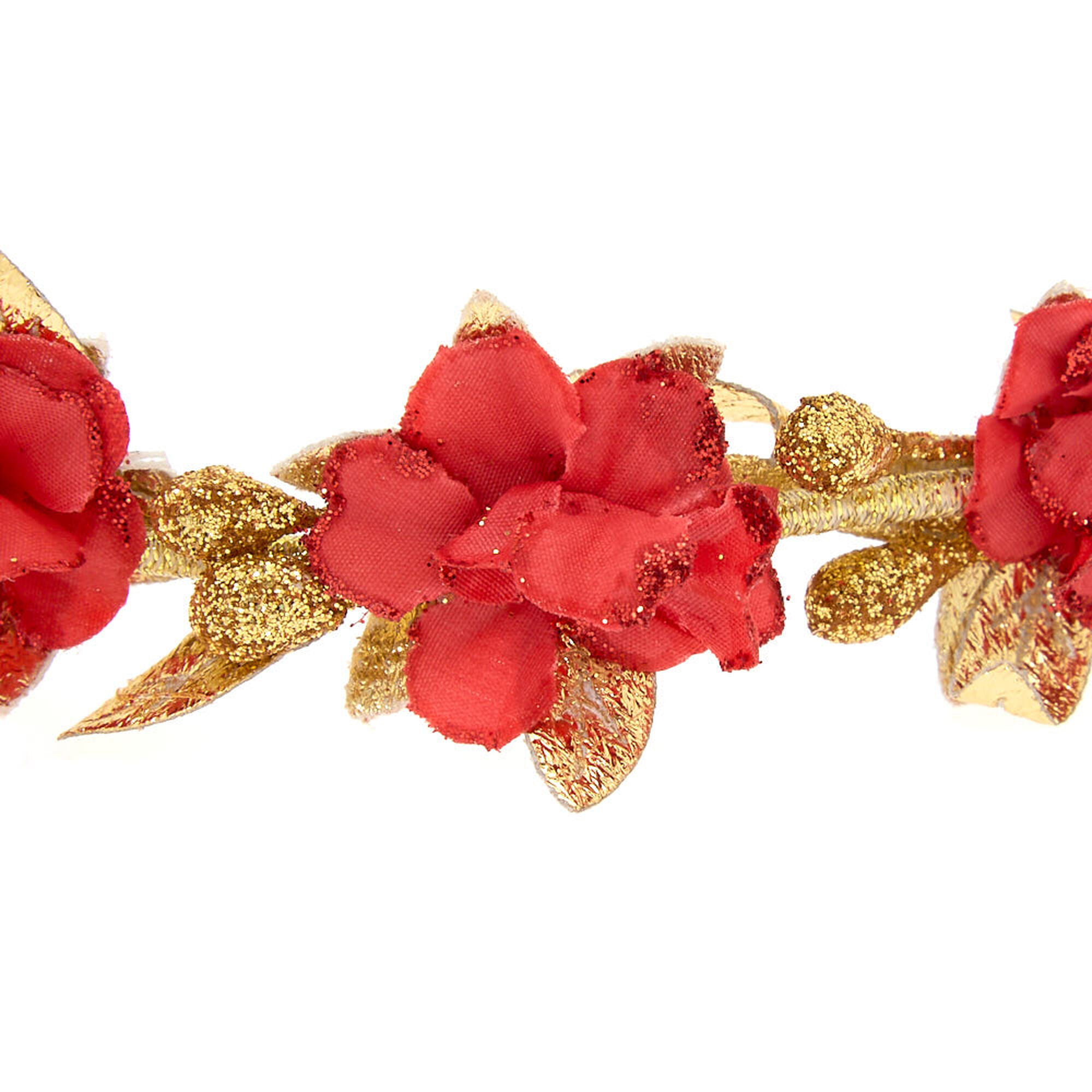 Gold Metallic Flower Crown Headwrap Red Claires