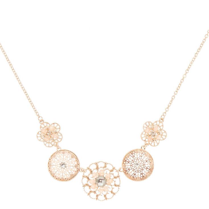 Rose Gold Floral Filigree Statement Necklace,