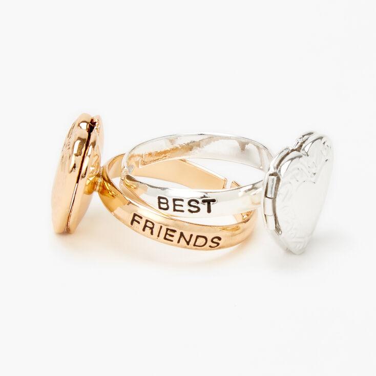 Mixed Metal Best Friends Heart Locket Rings - 2 Pack,