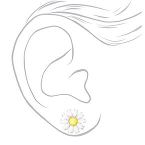 Silver Daisy Flower Stud Earrings - White,