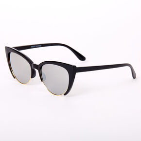 Browline Cat Eye Sunglasses - Black,