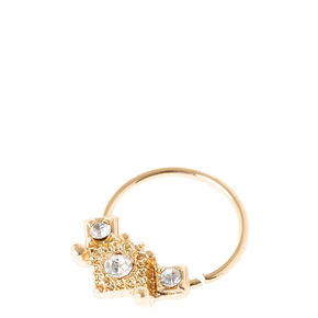 Sterling Silver Gold Crown Septum Ring,