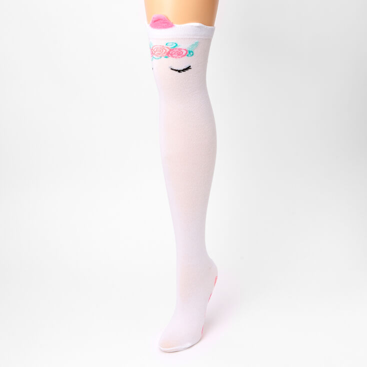 Unicorn Over The Knee Socks - White,