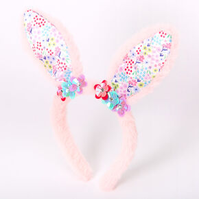 Claire's Club Floral Bunny Ears - Pink,