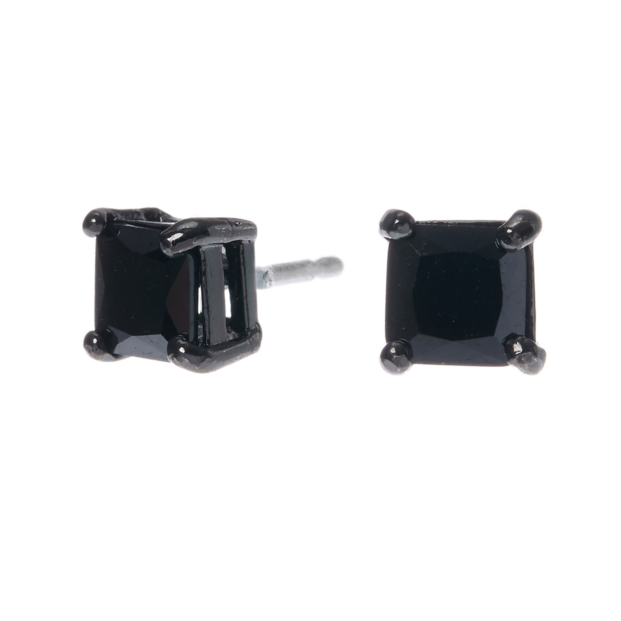 Hematite Cubic Zirconia Square Stud Earrings - Black, 5MM