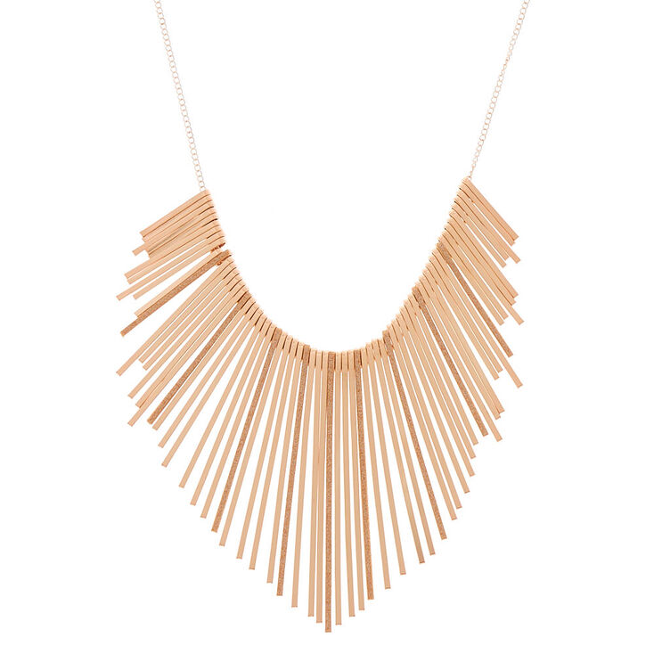 Rose Gold Glitter Bar Bib Statement Necklace,
