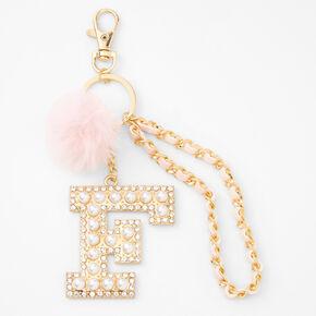 Gold Bling Initial Pom Pom Keyring - Pink, F,