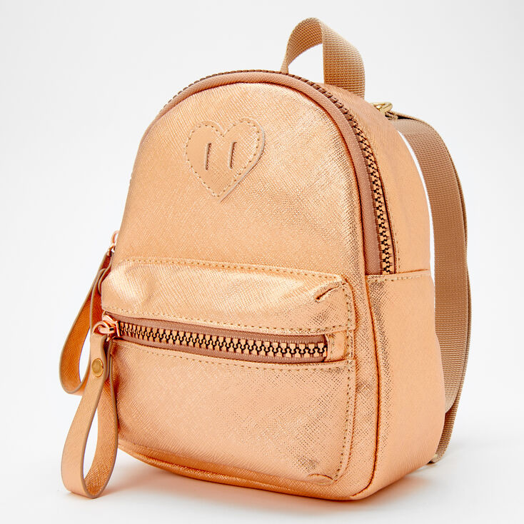 Claire's Club Metallic Heart Mini Backpack - Rose Gold,