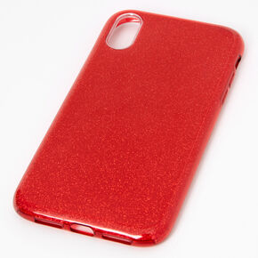 Red Glitter Protective Phone Case - Fits iPhone XR,