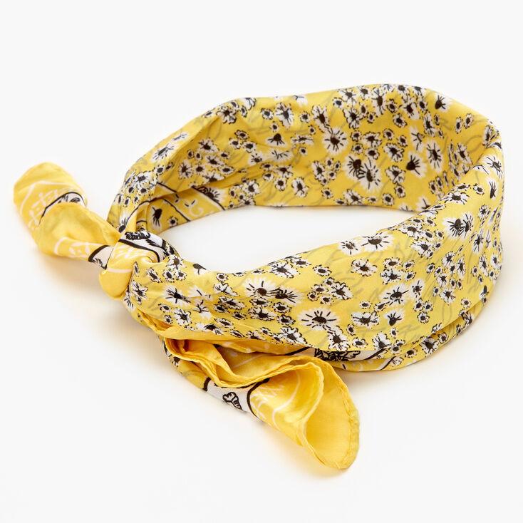 Bandeau bandana soyeux à imprimé floral - Jaune,