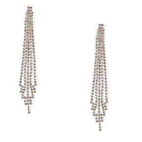 """Silver Rhinestone 3.5"""" Skyscraper Drop Earrings,"""