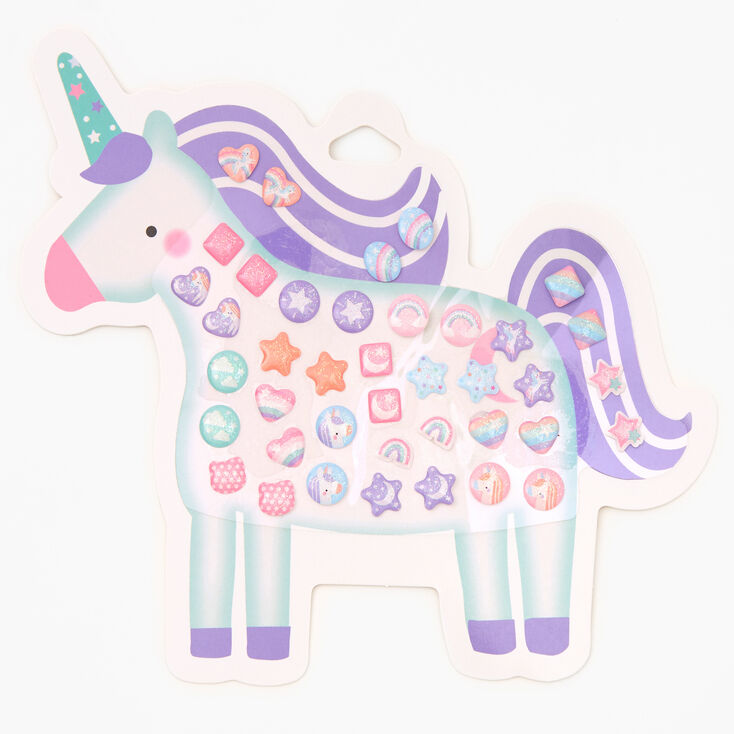 Claire's Club Unicorn Stick On Earrings - 20 Pack,