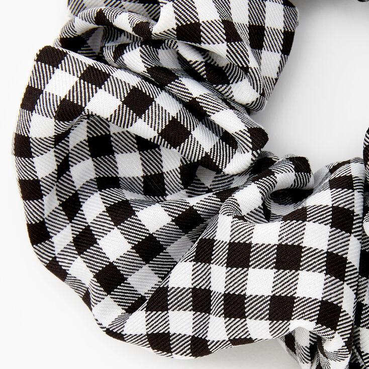 Medium Gingham Stripe Hair Scrunchie - Black,