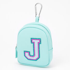 Mint Varsity Initial Mini Backpack Keychain - J,