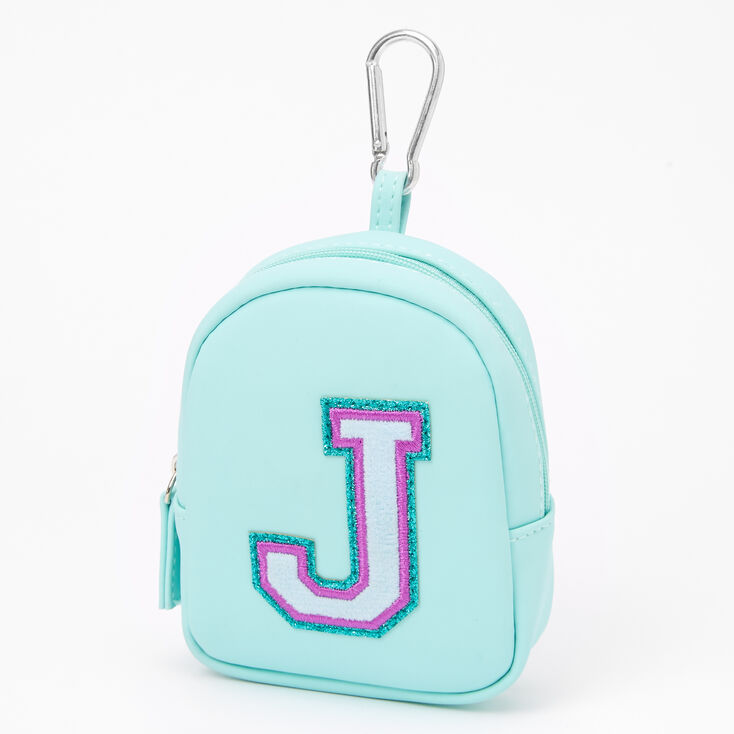 Mint Varsity Initial Mini Backpack Keychain - J,