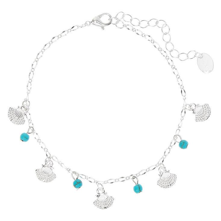 Bracelet de cheville à chaîne perlée et coquillages couleur argenté - Couleur turquoise,
