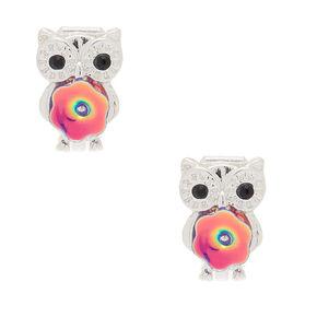 Silver Sequin Owl Clip On Earrings,