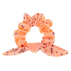 Small Bandana Knotted Bow Hair Scrunchie - Neon Coral,