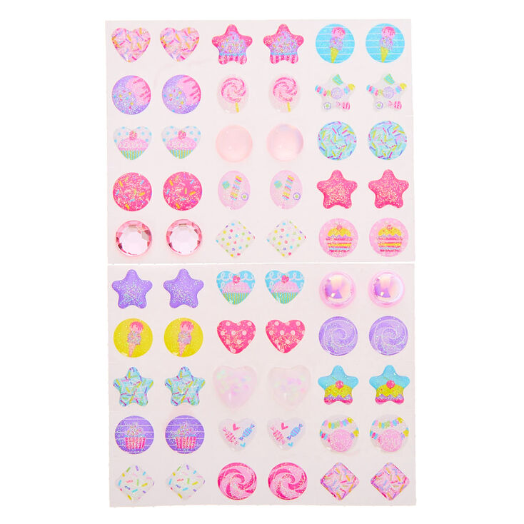 Claire's Club Sweet Treat Stick On Earrings - 30 Pack,