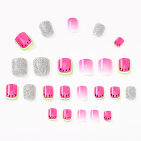 Watermelon Square Press On Faux Nail Set - Pink, 24 Pack,