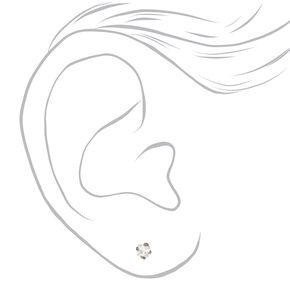 Silver Titanium Cubic Zirconia Square Stud Earrings - 3MM,
