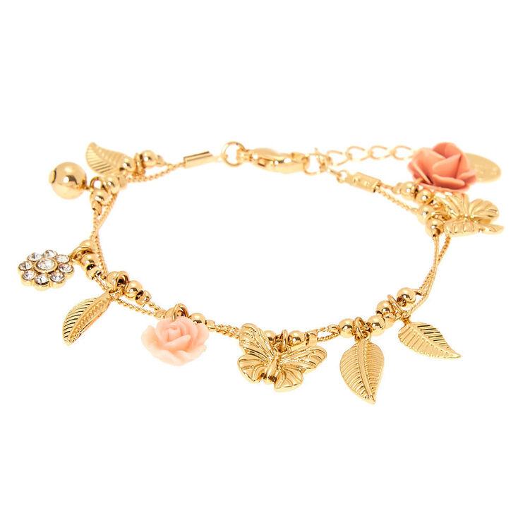 Bracelet à breloques papillon et rose romantique couleur doré,