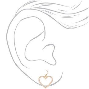 """Gold 1"""" Pearl Heart Drop Earrings,"""