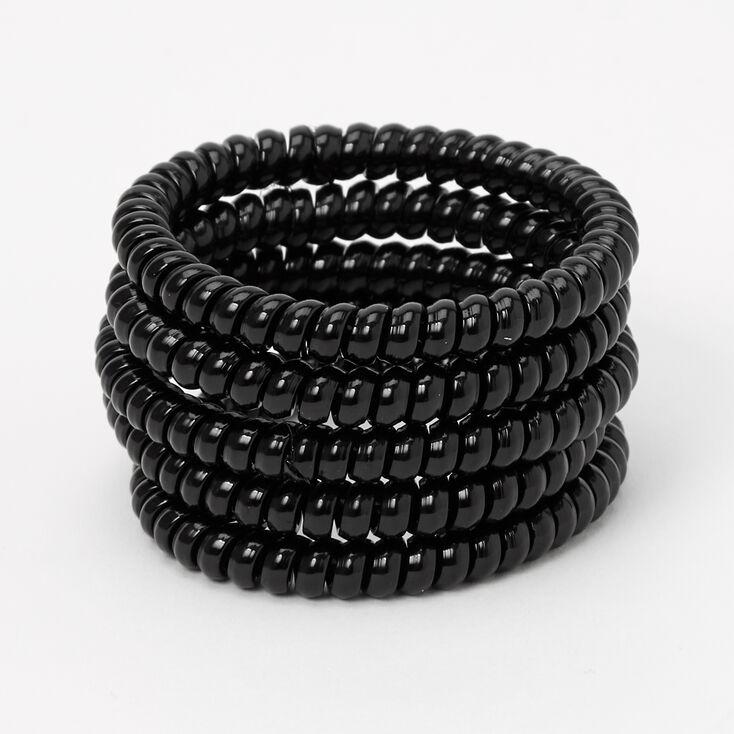 Solid Skinny Coil Hair Ties - Black, 5 Pack,