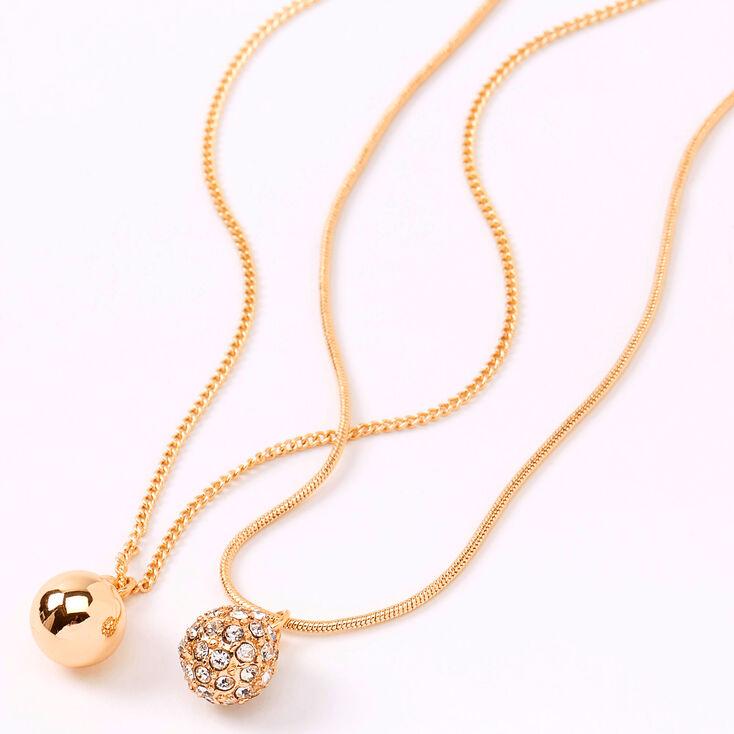 Gold Sleek Fireball Pendant Necklaces - 2 Pack,
